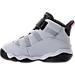 Left view of Girls' Toddler Jordan 6 Rings Basketball Shoes in Pure Platinum/Hyper Pink/Black/White
