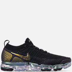 나이키 맨 Mens Nike Air VaporMax Flyknit 2 Running Shoes,Black/Multi Color/Metallic Silver