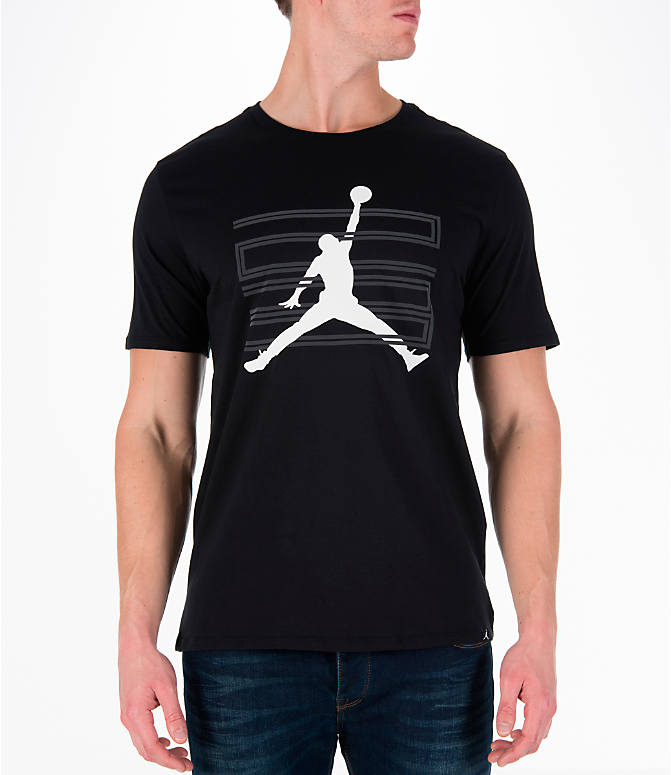 Front view of Men's Air Jordan 11 Jumpman T-Shirt in Black/White