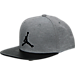 Front view of Kids' Jordan Heather Snapback Hat in Grey/Black