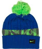 Kids' Nike Cable Knit Jacquard Pom Beanie Hat