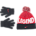 Front view of Boys' Nike Attitude Beanie and Glove Set in Uni Red/Black