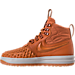 Left view of Women's Nike Lunar Force 1 Duck Boots in Cider/Black/Pale Grey