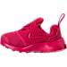 Left view of Girls' Toddler Nike Presto Fly Casual Shoes in Rush Pink/Rush Pink
