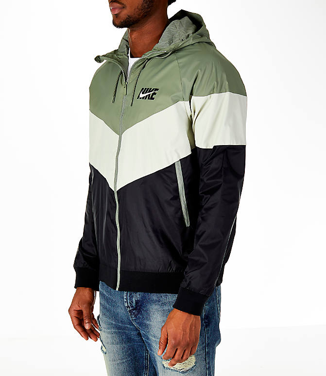 Front Three Quarter view of Men's Nike Sportswear HD GX Windrunner Jacket in Stucco/Bone/Black