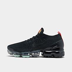 나이키 맨 Mens Nike Air VaporMax Flyknit 3 Running Shoes,Black/Black/Igloo/Flash Crimson