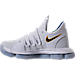 Left view of Boys' Grade School Nike Zoom KDX Basketball Shoes in White/Game Royal/University Gold