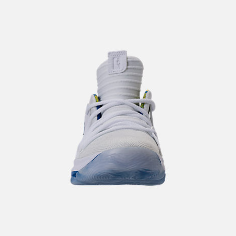 Front view of Boys' Preschool Nike KDX Basketball Shoes in White/Game Royal/University Gold