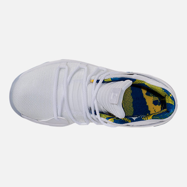 Top view of Boys' Preschool Nike KDX Basketball Shoes in White/Game Royal/University Gold