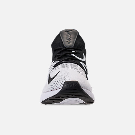 Front view of Men's Nike Air Max 270 Flyknit Casual Shoes in White/Black/Anthracite
