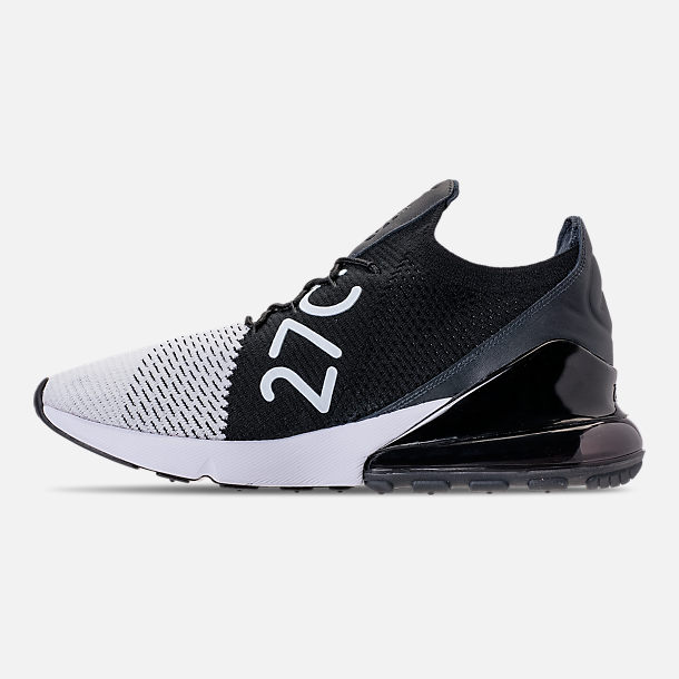 Left view of Men s Nike Air Max 270 Flyknit Casual Shoes in White Black  95ae64baf3a9