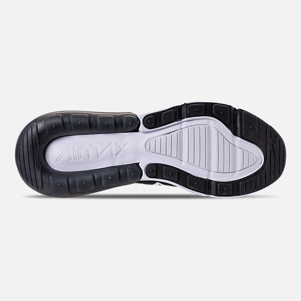 Bottom view of Men's Nike Air Max 270 Flyknit Casual Shoes in White/Black/Anthracite