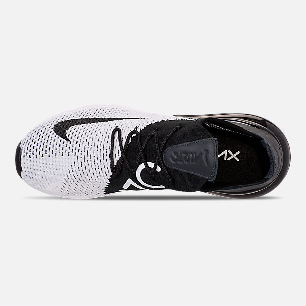 Top view of Men's Nike Air Max 270 Flyknit Casual Shoes in White/Black/Anthracite