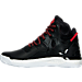 Left view of Boys' Grade School adidas D Rose 7 Basketball Shoes in Core Black/Scarlet Red