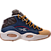 Right view of Men's Reebok Question Mid Basketball Shoes in Denim/Wheat/Brown