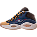 Left view of Men's Reebok Question Mid Basketball Shoes in Denim/Wheat/Brown