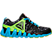 Right view of Boys' Grade School Reebok ZigTech Big & Fast Fire Running Shoes in Black/Lime/Blue
