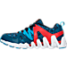 Left view of Boys' Preschool Reebok ZigTech Big & Fast Fire Running Shoes in Blue/Red/Navy