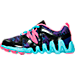Left view of Girls' Preschool Reebok ZigTech Big & Fast Running Shoes in Black/Poison Pink/Purple/Blue