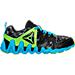 Right view of Boys' Preschool Reebok ZigTech Big & Fast Fire Running Shoes in Black/Lime/Blue