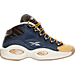 Right view of Boys' Grade School Reebok Question Mid Basketball Shoes in Blue Ink/Stucco/Dark Brown