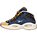 Left view of Boys' Grade School Reebok Question Mid Basketball Shoes in Blue Ink/Stucco/Dark Brown
