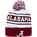 Front view of Zephyr Alabama Crimson Tide College Arctic Knit Hat in Team Colors