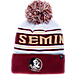 Front view of Zephyr Florida State Seminoles College Arctic Knit Hat in Team Colors