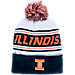 Front view of Zephyr Illinois Fighting Illini College Arctic Knit Hat in Team Colors