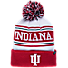 Front view of Zephyr Indiana Hoosiers College Arctic Knit Hat in Team Colors