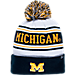 Front view of Zephyr Michigan Wolverines College Arctic Knit Hat in Team Colors