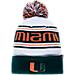 Front view of Zephyr Miami Hurricanes College Arctic Knit Hat in Team Colors