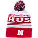 Front view of Zephyr Nebraska Cornhuskers College Arctic Knit Hat in Team Colors