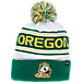 Front view of Zephyr Oregon Ducks College Arctic Knit Hat in Team Colors