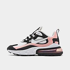 Womens 나이키 Nike Air Max 270 React Casual Shoes,Black/White/Bleached Coral/Metallic Gold