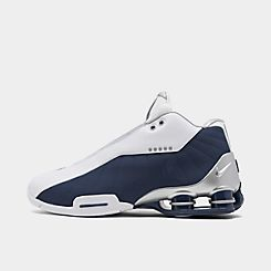 나이키 맨 Mens Nike Shox BB4 Basketball Shoes,White/Metallic Silver/Midnight Navy