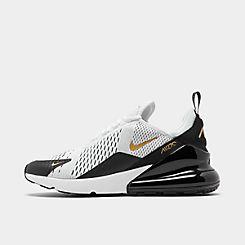 나이키 맨 Mens Nike Air Max 270 Casual Shoes,White/Metallic Gold/Black