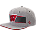 Front view of Zephyr Wisconsin Badgers College Avenue Snapback Hat in Team Colors