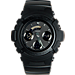 Front view of Casio G-Shock Blackout Resin AW591 Watch in Matte Black