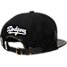 Back view of Pro Standard Brooklyn Dodgers MLB Jersey Script Snapback Hat in Black