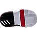 Bottom view of Boys' Toddler adidas Dame 3 Basketball Shoes in Black/White/Red - Away