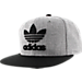 Front view of Men's adidas Originals Trefoil Chain Snapback Hat in Heather Grey/Black