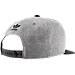 Back view of Men's adidas Originals Trefoil Chain Snapback Hat in Heather Grey/Black