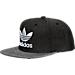Front view of Men's adidas Originals Trefoil Plus Snapback Hat in Black Denim/Black