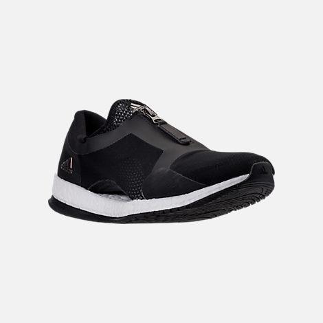 Three Quarter view of Women's adidas PureBOOST X Trainer Zip Running Shoes in Core Black/Running White