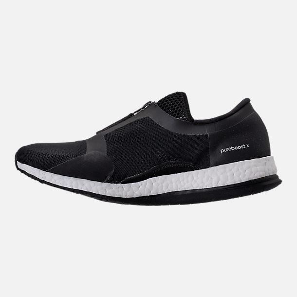 Left view of Women's adidas PureBOOST X Trainer Zip Running Shoes in Core Black/Running White