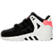 Left view of Boys' Toddler adidas Support EQT Refine Casual Shoes in Black/Turbo
