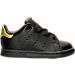 Right view of Girls' Toddler adidas Originals Stan Smith Hook-and-Loop Closure Casual Shoes in Black/Gold Metallic