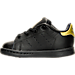 Left view of Girls' Toddler adidas Originals Stan Smith Hook-and-Loop Closure Casual Shoes in Black/Gold Metallic