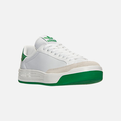 Three Quarter view of Men's adidas Originals Rod Laver Casual Shoes in White/White/Green